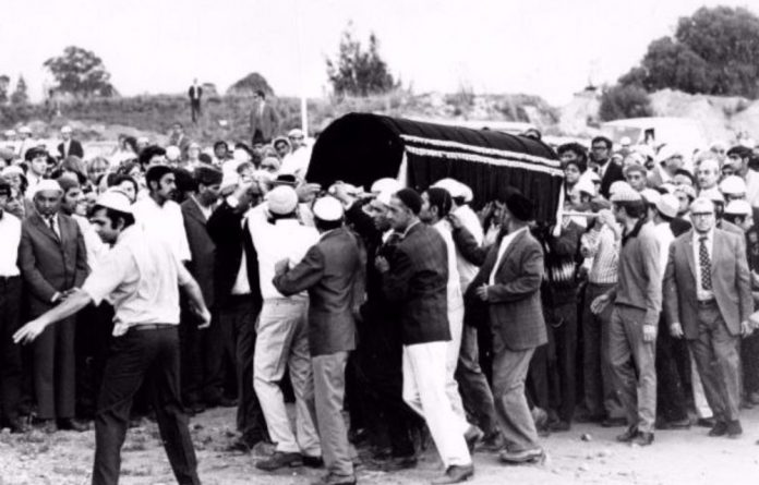 Mourners carry the casket with Ahmed Timol's body in October 1971.
