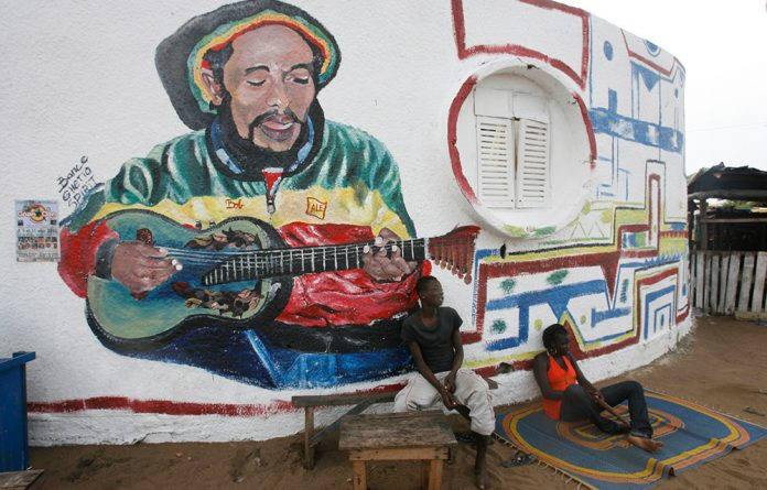 A mural of reggae icon Bpb Marley.