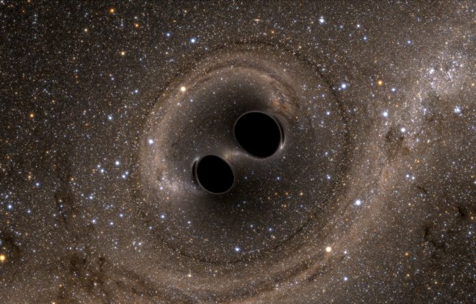 The collision of two black holes - a tremendously powerful event detected for the first time ever by the Laser Interferometer Gravitational-Wave Observatory