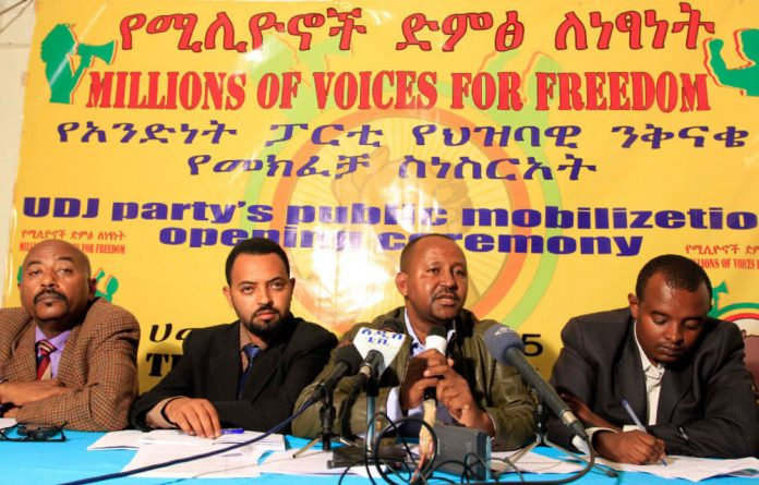 The Unity for Democracy and Justice party hold a news conference in Addis Ababa