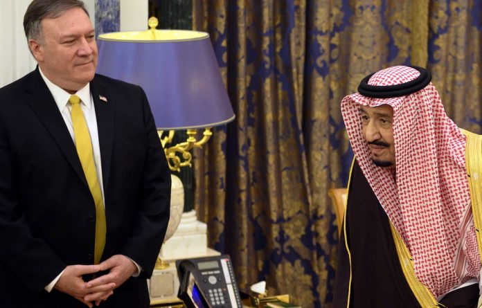 Saudi Arabia's King Salman bin Abdulaziz meets with US Secretary of State Mike Pompeo in Riyadh