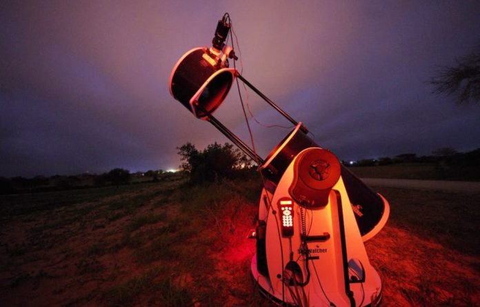 A telescope pointed at the skies above Senegal to capture the stellar occultation.