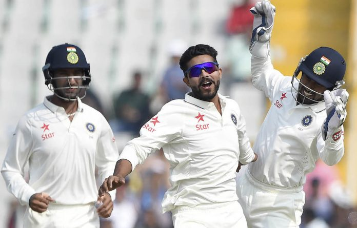 Spinning out: India's Ravindra Jadeja celebrates another wicket in the first Test.