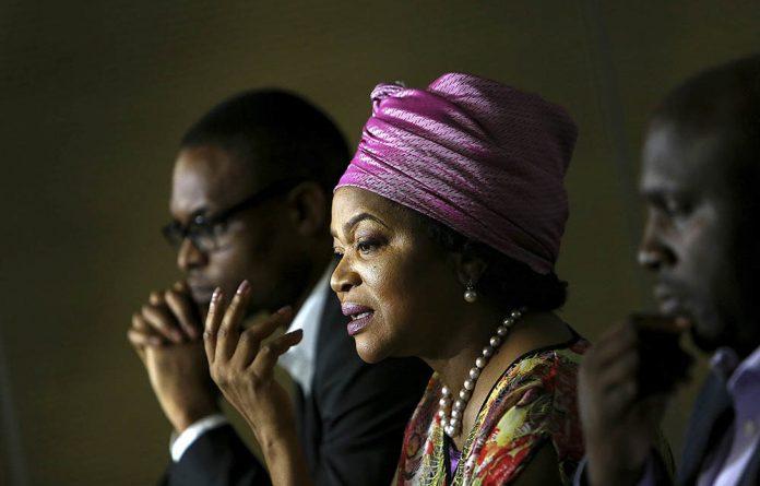 Mbete addressing the media in Johannesburg in April.