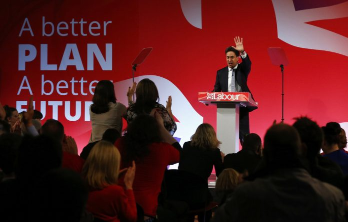 Britain's Labour Party's leader Ed Miliband's speaks at his final campaign event in Leeds