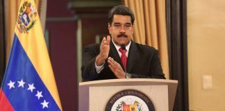 President Nicolas Maduro speaks during a meeting with government officials.