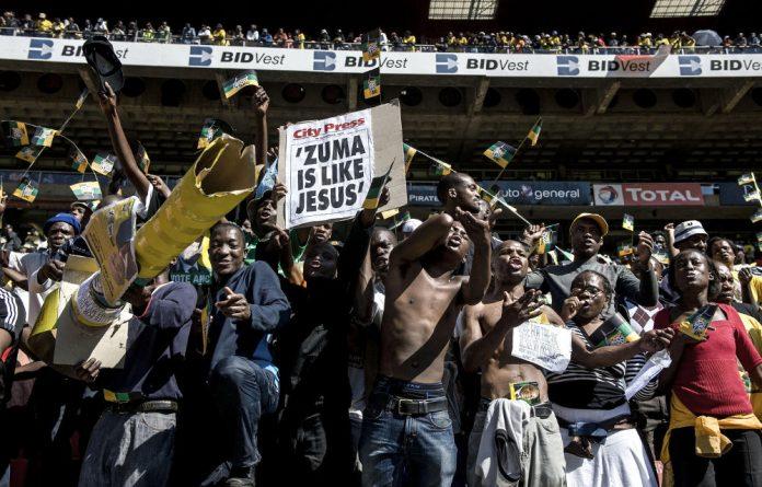 Messianic zeal: Jacob Zuma supporters in 2009.