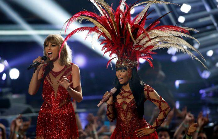 Taylor Swift and Nicki Minaj on stage at the MTV Video Music Awards.