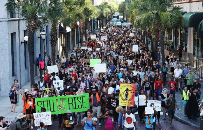 A march sponsored by Black Lives Matter.