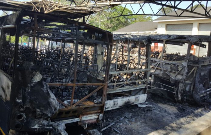 Three buses were torched at the University of Zululand