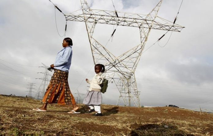 High voltage electrical pylons on the outskirts of Kenya's capital Nairobi.