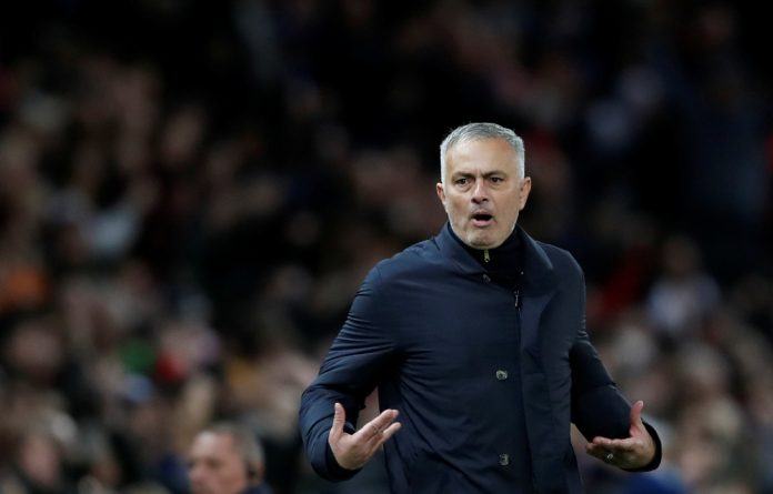 Manchester United manager Jose Mourinho celebrates after Anthony Martial scores their second goal.
