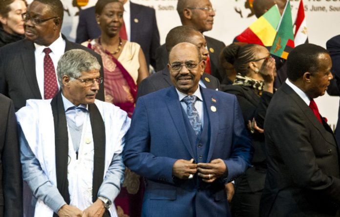 Omar al-Bashir at the AU summit in Johannesburg on Sunday.