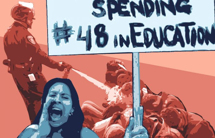By 2014 the state spending on universities dropped to 5.2% and that of prisons shot up to more than 9% in California.