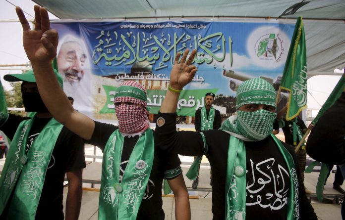 Palestinian students supporting Hamas.