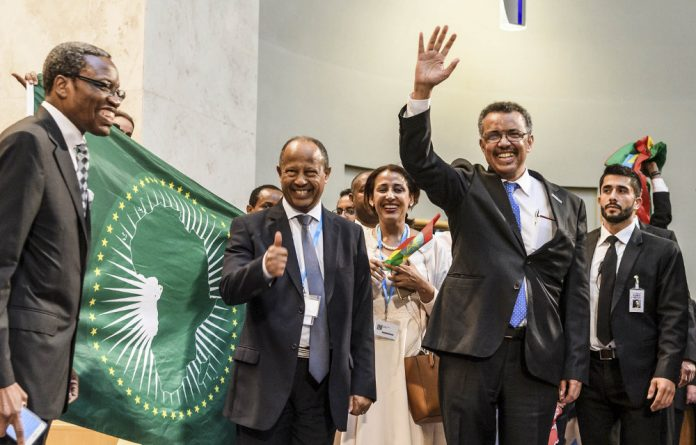 And the winner is: Newly elected WHO director general Tedros Adhanom Ghebreyesus celebrates his victory.