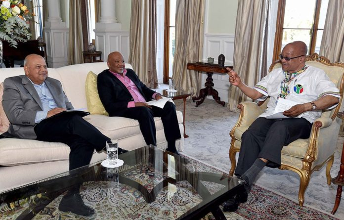 Finance minister Pravin Gordhan and his deputy Mcebisi Jonas with President Jacob Zuma. Picture: Elmond Jiyane