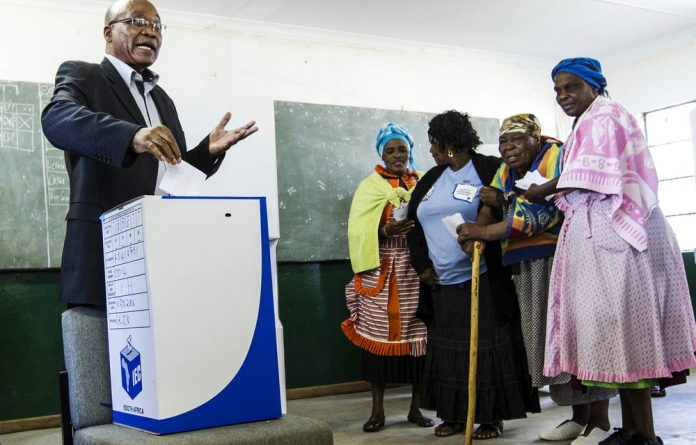 Self-interest: Then president Jacob Zuma votes for himself at Ntolwane Primary School in Nxamalala in 2014