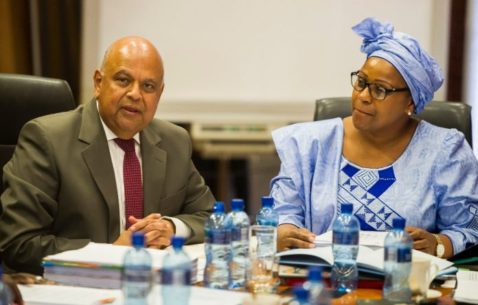 Finance Minister Pravin Gordhan and SAA chairperson Dudu Myeni during a media briefing in Kempton Park