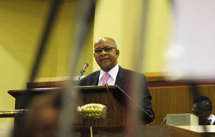 Limpopo Premier Stanley Mathabatha delivers the state of the province address on February 24