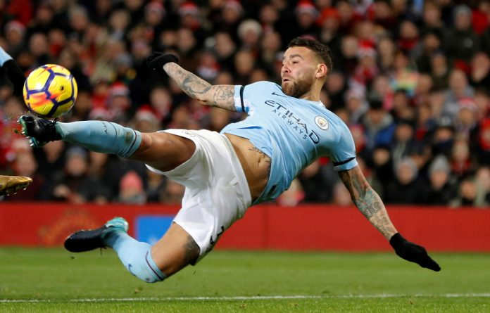 Nicolas Otamendi scores the goal that may have handed his team the league.