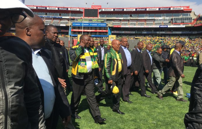 Jacob Zuma arrives at Ellis Park for the ANC's Siyanqoba rally.