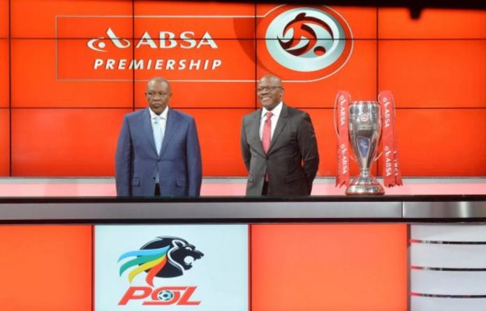 Safe: The PSL's Irvin Khoza and Bobby Malabie of Barclays Africa Group. Sponsorship has secured the league.