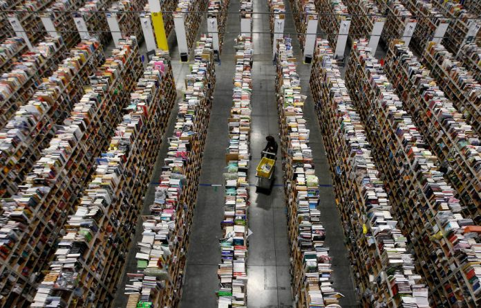 The warehouse floor at Amazon's distribution centre in Phoenix