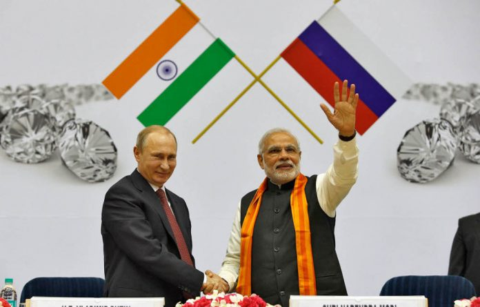 Russia's President Vladimir Putin and India's Prime Minister Narendra Modi. India recently signed a $2.1-billion deal with Russian diamond-mining group Alrosa.