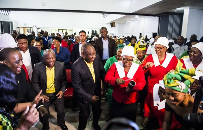 Praise be: President Cyril Ramaphosa gets down at the Central Methodist Church in Durban earlier this week.