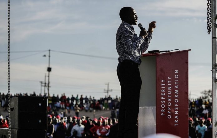 Movement for Democratic Change Alliance leader Nelson Chamisa addresses an election rally ahead of the polls. A run-off election between Chamisa and Emmerson Mngangagwa is a very real possibility if neither wins a majority.