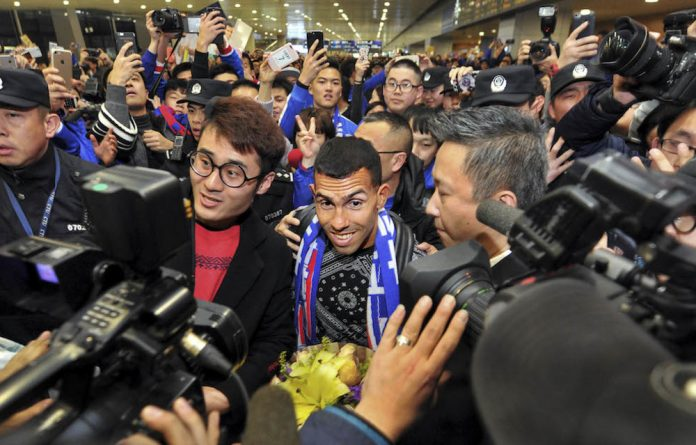 Pulling power: Argentine striker Carlos Tevez officially joined Shanghai Shenhua at the end of 2016.