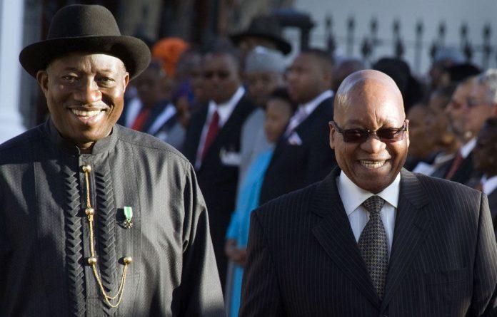 Presidents Goodluck Jonathan and Jacob Zuma.