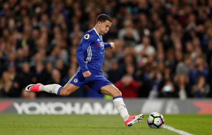 Chelsea's Eden Hazard has his penalty saved before scoring their second goal from the rebound.