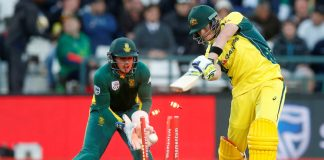 Australia's Steve Smith is dismissed last night.