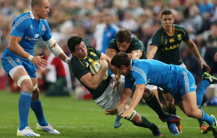 Francois Louw of South Africa on attack during the Castle Incoming Tour match between South Africa and Italy.