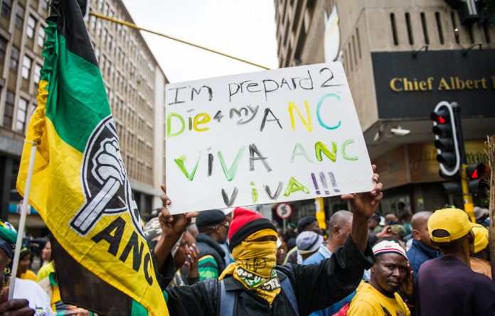 ANC supporters outside of Luthuli House.