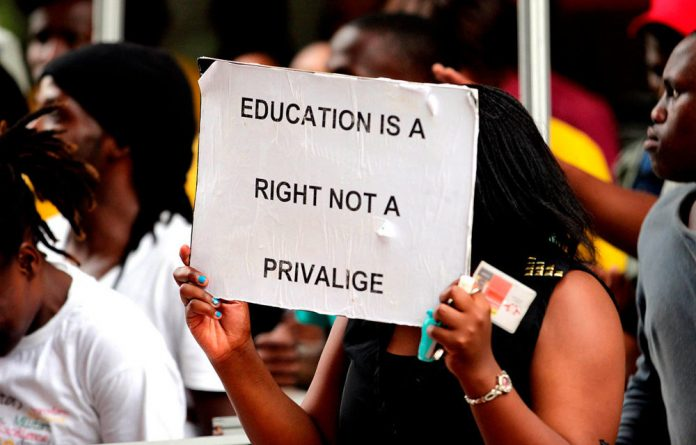 Spelling it out: University of Johannesburg students protest in January over delays in getting NSFAS loans.