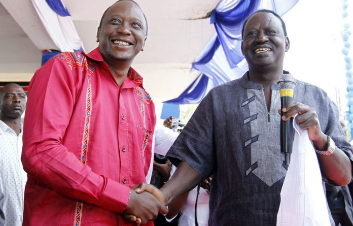 President Uhuru Kenyatta and contender Raila Odinga in happier times. The two are now embroiled in a bitter political contest.