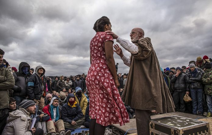 The actors performed Hamlet to residents of the refugee camp
