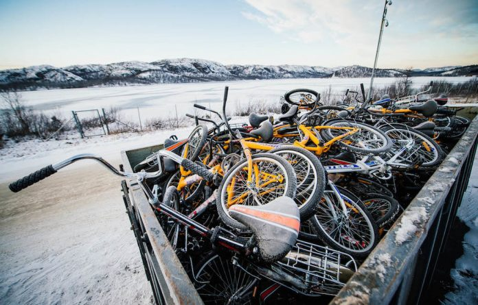 Bikes are used by refugees to cross into Norway from Russia as the Russians will not allow them to cross the border on foot.