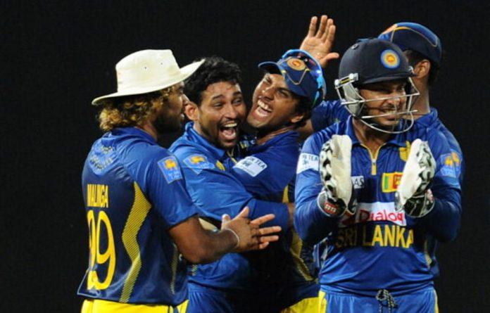 Sri Lanka's cricket team celebrating their win over SA.