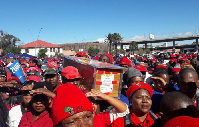 Economic Freedom Front supporters brought their trusty coffin along.