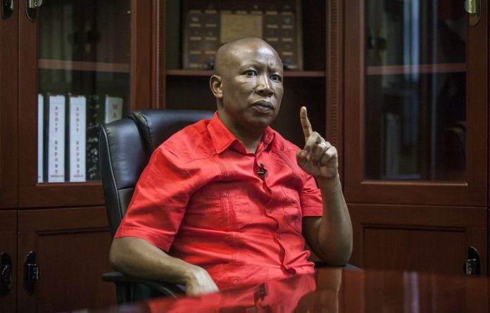 No going back: Economic Freedom Fighters leader Julius Malema vows that if the EFF were to fold