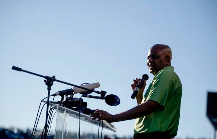 Amcu president Joseph Mathunjwa at the Royal Bafokeng stadium in Rustenburg.