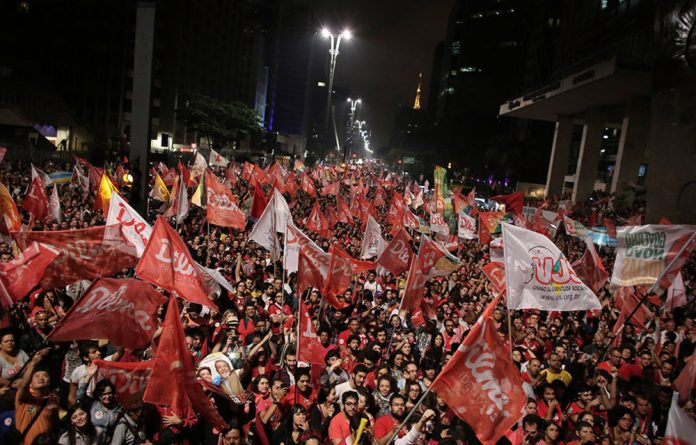 Supporters of Brazil's President and Workers' Party