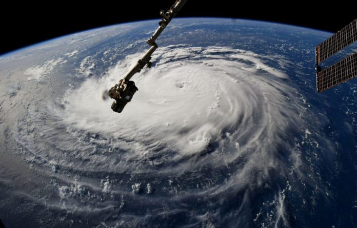 Hurricane Florence is seen from the International Space Station as it churns in the Atlantic Ocean towards the east coast of the United States