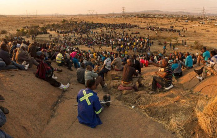 Striking Lonmin miners gathered on Wonderkop hill during the dispute in Marikana.