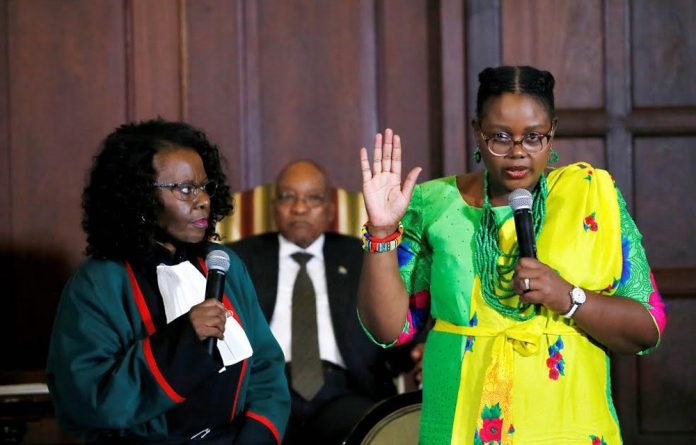 Position of power: Mmamoloko Kubayi is sworn in as energy minister after President Jacob Zuma appointed her to replace Tina Joemat-Pettersson