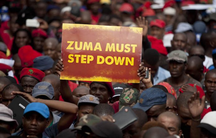 Protesters from different political parties gathered together to protest on a National Day of Action in Pretoria demanding President Jacob Zuma to step down from his post.